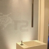 ACCADEMIA-I hohe 2Loch Waschtischarmatur Bedienung Unterputz ind er Wand und Deckenauslauf, Platin-gebürstet