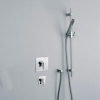 ACCADEMIA Unterputzduschanlage mit Kopfbrause 200x200, Brausestnage und Umstellerventil, Chrom