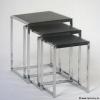 Design Beistelltisch Kombination 3teilig, chrom, braun Kunstleder bezogen, TT00AHAX6559
