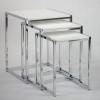 Design Beistelltisch Kombination 3teilig, chrom, weiß lackiert, TT00AHMU8090