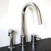 3 Loch Küchenarmatur EILEEN3plus, Auslauf schwenkbar mit versenkbarer Handbrause, chrom.