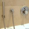 Unterputz Badewannenarmatur mit separater Handbrause, Wanneneinlauf über Ablaufgarnitur, platin-gebürstet