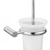 WC-Bürstengarnitur aus gefrostetem Glas zur Wandbefestigung mit Chromrand, alle Farben möglich