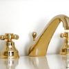 3 Loch Waschtischarmatur mit Excenter Garnitur LE PETIT, Gold