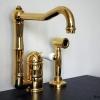 KAMPEN 2 Loch Küchenarmatur mit schwenkbarem Auslauf und versenkbarer, separater Handbrause, Gold.