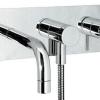 PLAN Unterputz Badewannenarmatur mit rechteckiger Grundplatte und Unterputz Monatgekasten, Chrom