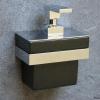 Design Wandseifenspender, schwarze Keramik mit verchromtem Wandhalter, TT00STRUBI