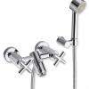 TAVUS Aufputz Badewannenarmatur mit separater Handbrause, Chrom
