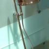 TAVUS Aufputz Duschanlage mit Ständerwerk, 200mm Kopfbrause und separater Handbrause, Chrom