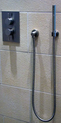 Unterputz Thermostat Duschanlage EILEEN-X, platin -gebürstet. Sonderburg-Dänemark.